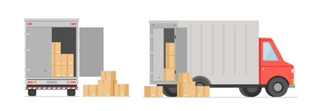 Vector illustration of truck with boxes. Post boxes, moving in new house. Transportation, delivery and logistic concept in flat cartoon style Vectores