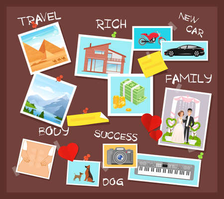 Cartoon flat visionary examples of financial business success, travel achievements, happy family wedding, motivation for body training. Vision board, collage with dreams and goals vector illustration