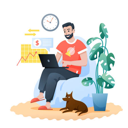 Freelance home work flat vector illustration. Cartoon bearded happy hipster sitting in modern comfortable armchair, man freelancer character working with laptop. Remote job at home isolated on white