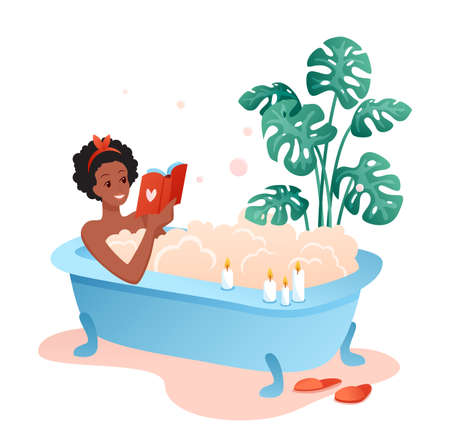Bath time flat vector illustration. Cartoon happy young woman character lying in bathtub full of soap foam bubbles and reading book, african girl relaxing in bathroom, spa at home isolated on white 矢量图像