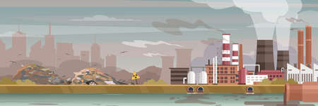 Industry, manufacture polluted landscape vector illustration. Cartoon flat urban cityscape, industrial zone with manufacturing plants, power stations. City pollution background