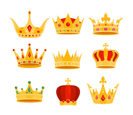 Golden crown vector illustration set. Cartoon flat gold royal medieval collection of monarchy symbols, crown on head for king, emperor or queen isolated on white