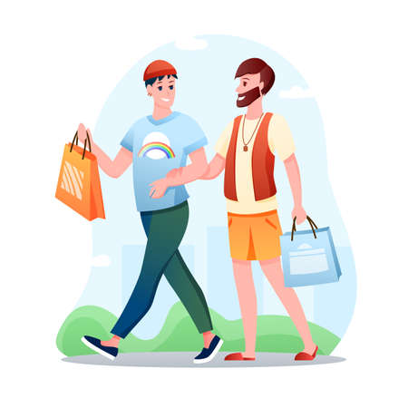 Gay couple LGBT love vector illustration. Cartoon flat happy man partner characters walking, homosexual lovers spend time together. Love, gay LGBT relationship, homosexuality concept isolated on white