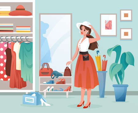 Fashion woman flat vector illustration. Cartoon young lady standing by mirror, female character dressing, changing fashionable dress clothes in wardrobe dressroom interior. Trendy clothing background Illustration