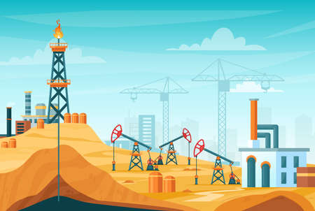 Oil extraction landscape vector illustration. Cartoon flat urban factory station skyline with well drilling, extracting industrial process, oil rig tower to pump black liquid from oilfield background Illustration