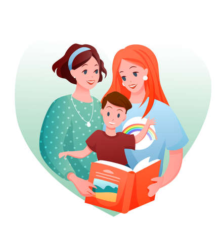 Lesbian family vector illustration. Cartoon flat happy loving two mother characters with kid boy reading book together, love and parenting in LGBT family concept isolated on white Illustration