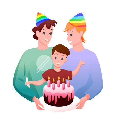 Gay LGBT family celebration vector illustration. Cartoon flat happy man parent characters, two fathers with boy kid celebrating child birthday with gift cake isolated on white Illustration