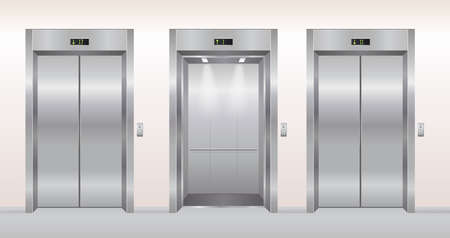 Elevator doors vector illustration. Cartoon flat empty realistic modern office or hotel hallway interior with chrome metal grey lift, open closed elevator doors background