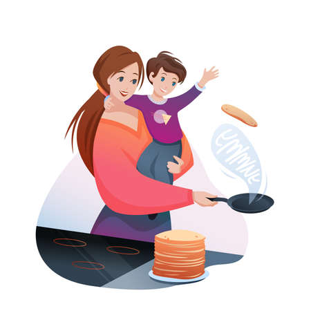 Mother cooks family breakfast food vector illustration. Cartoon flat mom character cooking yummy pancakes, holding boy child in hands, happy motherhood isolated on white Illustration