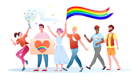 LGBT pride parade vector illustration. Cartoon flat happy gays lesbians characters holding LGBT rainbow flag on festival parade for human rights, tolerance and love