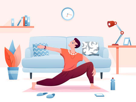 Home yoga practice flat vector illustration. Cartoon happy man character practicing yogi asana exercises in home living room interior, healthy lifestyle background
