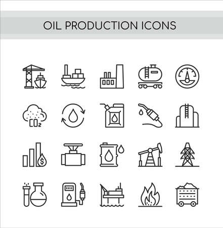Oil production vector illustration set. Flat thin line icons with oilfield drilling pump station, tanker ship or truck transportation, pollution, refinery oil plant symbols Standard-Bild - 151954137