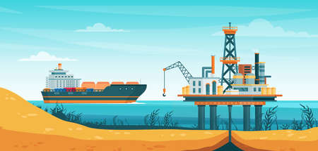 Oil gas extraction vector illustration. Cartoon flat drill oilfield technology, offshore extracting pump tower station at sea water, ship tanker passing to rig drilling platform infographic poster Illustration