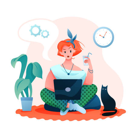 Freelance remote work flat vector illustration. Cartoon beautiful young woman character working online in cozy home room apartment, freelancer with laptop in home business office isolated on white