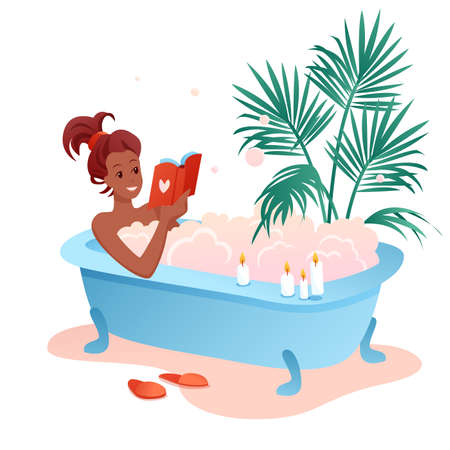 Enjoy bath time flat vector illustration. Cartoon young african woman character enjoying relaxing bubble foam bath, girl reading book in bathroom isolated on white
