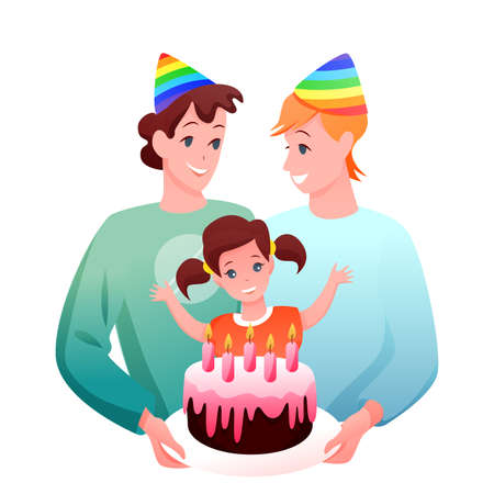 Gay LGBT family celebrate vector illustration. Cartoon flat happy two gay father characters celebrating birthday of daughter girl with gift chocolate cake, kid birthdate celebration isolated on white Illustration
