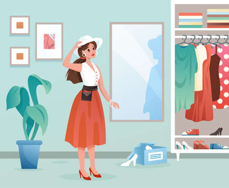 Fashion woman flat vector illustration. Cartoon young female character standing by mirror, lady dressing in fashionable dress clothes in dressroom interior background