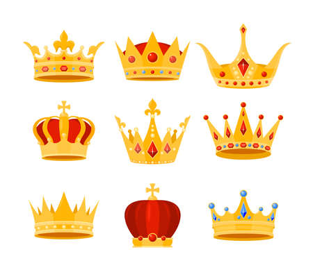Golden crown vector illustration set. Cartoon flat gold royal medieval collection of luxury monarch crowning jewel headdress for king, emperor or queen, monarchy imperial symbols isolated on white