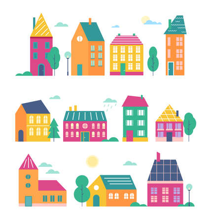 Town houses vector illustration set. Cartoon flat cute colorful urban variety buildings collection of modern and retro townhouse or cottage household facade with door, window, roof isolated on white