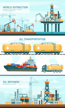 Oil gas industry technology flat vector illustrations. Cartoon infographic presentation of technological processing petrol with offshore crude extraction, transportation, refinery plant industrial set Illustration