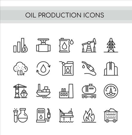 Oil production vector illustration set. Flat thin line icons collection of extraction in oilfield drilling pump station, tanker ship or truck transportation, pollution and refinery oil plant symbols