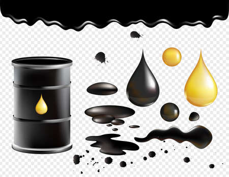 Petrol symbols vector illustration set. Oil black realistic glossy dropping fluid, black metal barrel container with golden drop, falling petroleum, petroleum industry objects