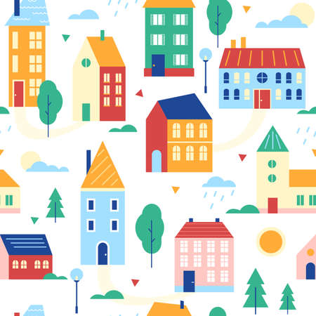 Houses seamless pattern vector illustration. Cartoon flat cute urban suburban traditional cityscape with colorful buildings, retro traditional townhouses, small cottages