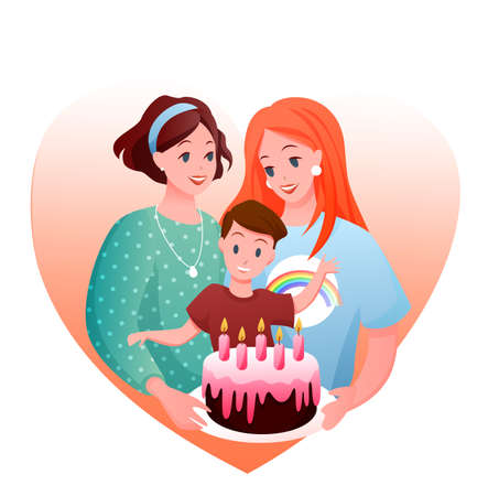Lesbian family celebration vector illustration. Cartoon flat happy woman parent characters with boy kid celebrating child birthday with gift cake, LGBT parenting isolated on white Illustration