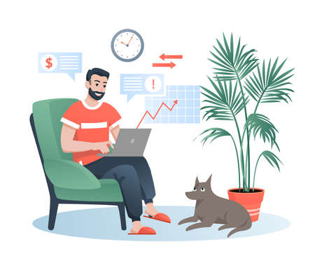 Freelancer works at home flat vector illustration. Cartoon bearded happy hipster man character sitting in comfortable armchair, working with laptop. Remote job isolated on white