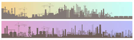 Industry, manufacture landscapes vector illustrations. Cartoon flat urban industrial zone with manufacturing plants, power stations, warehouses, cooling tower silhouettes