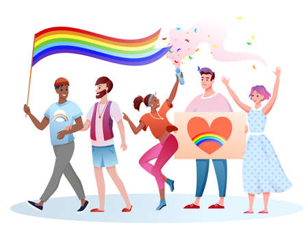 LGBT pride parade vector illustration. Cartoon flat happy homosexual and transgender people take part in festival parade for human rights, holding LGBT rainbow flag in hands