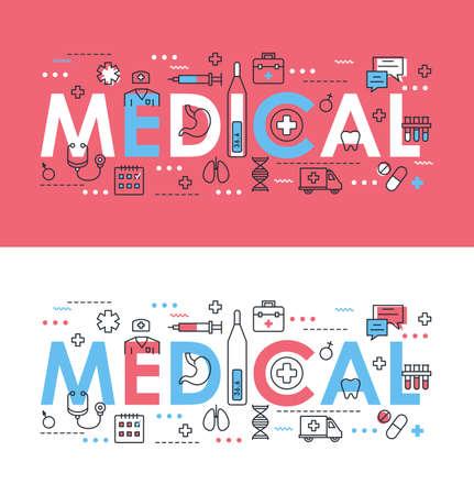 Medical word thin line vector illustration. Flat concept web banner design set with medicine and health care symbols, medic support, doctor diagnosis, treatment in hospital Vektorgrafik