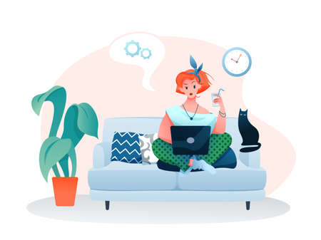 Freelance home work flat vector illustration. Cartoon young woman freelancer character working online with laptop, sitting on sofa in cozy home room apartment interior isolated on white Illustration