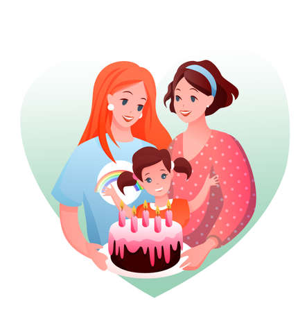 Lesbian family celebration vector illustration. Cartoon flat happy parents with girl child celebrating kids birthday, woman loving couple holding gift cake. LGBT love and parenting isolated on white