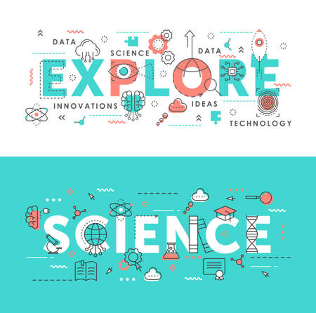 Explore science word abstract thin line vector illustration set. Flat horizontal banners design with innovation idea symbols, scientific exploring laboratory tech equipment
