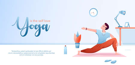 Yoga is self love concept flat vector illustration. Landing page design template with cartoon happy man character doing yogi asana for body stretching, healthy yoga pose for mental and physical health Illustration