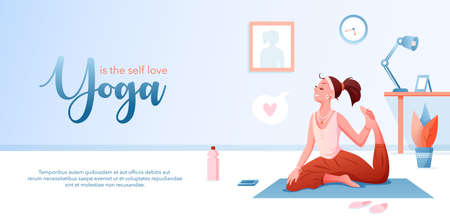 Yoga is self love concept flat vector illustration. Landing page design template with cartoon happy girl character loving yourself, doing yoga asana pose, healthy exercises to take care of body health