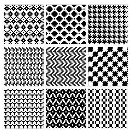 Seamless geometric pattern vector illustration set. Collection of modern stylish ornate abstract black and white texture geometry. Repeating geometric ornament tiles from striped, diagonal elements Illustration