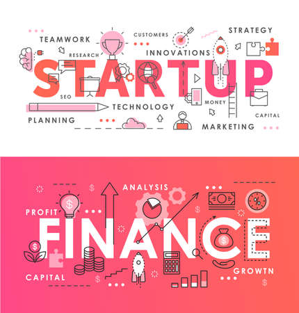 Financial startup word abstract thin line vector illustration set. Flat lineart web banners with starting business project, new idea conceptual symbols, analysis and market research of finance process