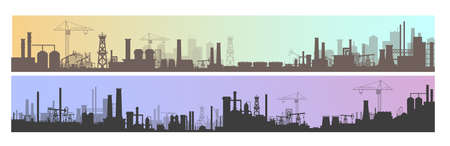 Industry, factory and manufacture landscape vector illustrations. Cartoon flat industrial panoramic area with manufacturing plants, power stations, warehouses, cooling tower silhouettes background