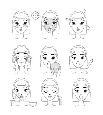 Vector illustration of instruction how to use cosmetic mask. Young woman doing beauty procedures set, line style isolates on white background Illustration
