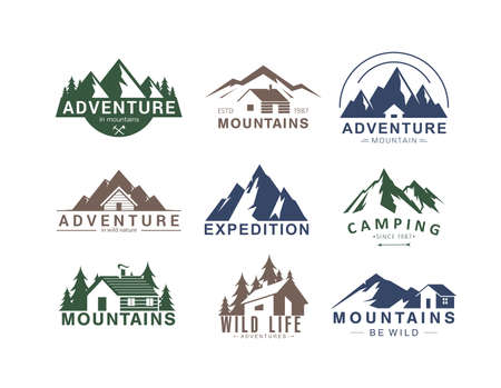 Mountain  flat vector illustration set. Design element sign   stamp collection of rocky mountain top peaks, camping outdoor adventure expedition in mountainous landscape, camp life in wild
