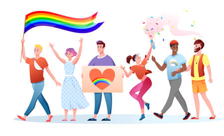 LGBT pride parade vector illustration. Cartoon flat happy homosexual and transgender people holding LGBT rainbow flag, gays lesbians characters have fun on festival parade for human rights and love