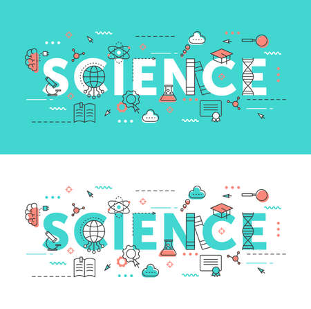 Science word thin line vector illustration set. Flat infographic website design collection with scientific research educational symbols, school education elements