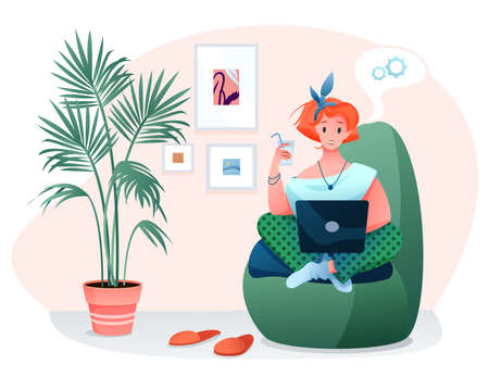 Freelance home work flat vector illustration. Cartoon woman freelancer character works online with laptop, sitting in comfortable armchair of home room interior isolated on white