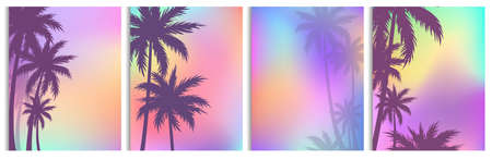 Vector illustration set of palm trees backgrounds, colorful palms silhouettes in flat style. Illustration
