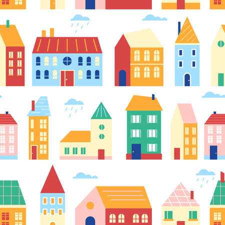 Houses seamless pattern vector illustration, cartoon flat cute urban cityscape with colorful buildings, retro traditional townhouses in row