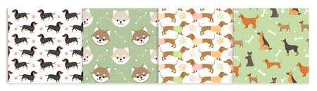 Dog pets seamless pattern vector illustrations. Cartoon cute flat animal background set with black brown doggy or funny puppy face. Standard-Bild - 158483439