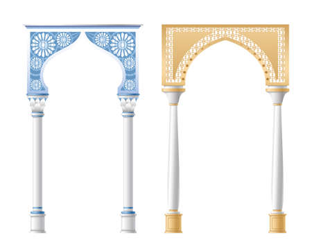 Vector illustration of architectural columns, pillars and arches isolated on white background. Standard-Bild - 158435579