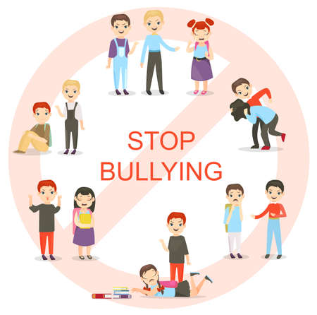 Vector illustration of kids bullying set. Collection of aggressive school children conflicts in flat style. Feminism, schoolchildren, teasing boy and crying girl cartoon characters.